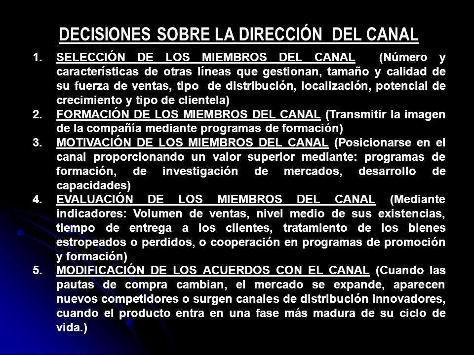 DECISIONES SOBRE LA DIRECCIÓN DEL CANAL