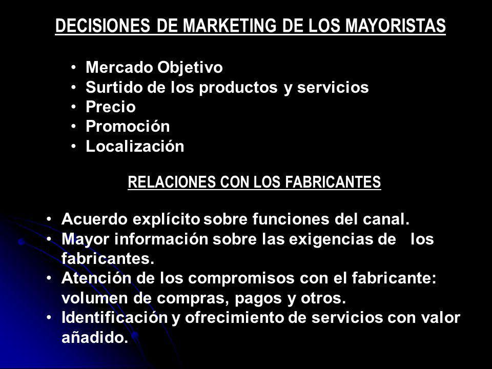 DECISIONES DE MARKETING DE LOS MAYORISTAS