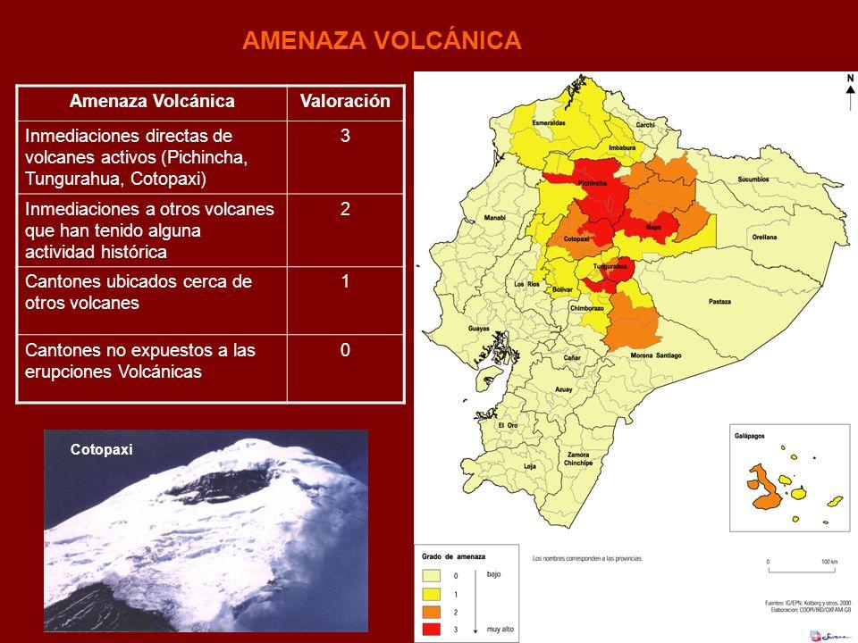 AMENAZA VOLCÁNICA Amenaza Volcánica Valoración