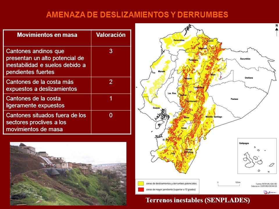 AMENAZA DE DESLIZAMIENTOS Y DERRUMBES