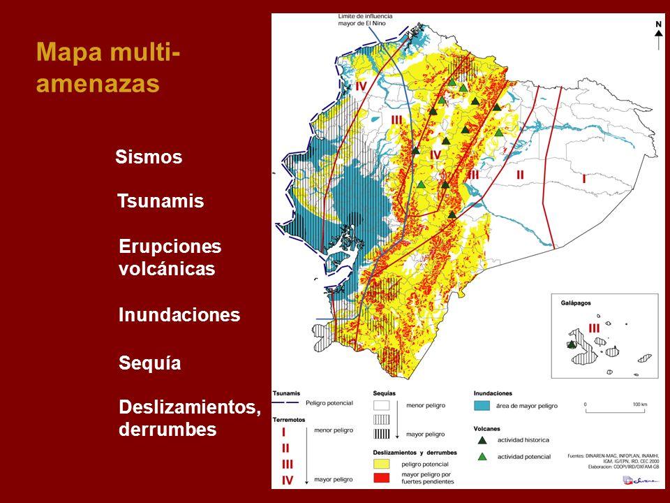 Mapa multi-amenazas Sismos Tsunamis Erupciones volcánicas Inundaciones