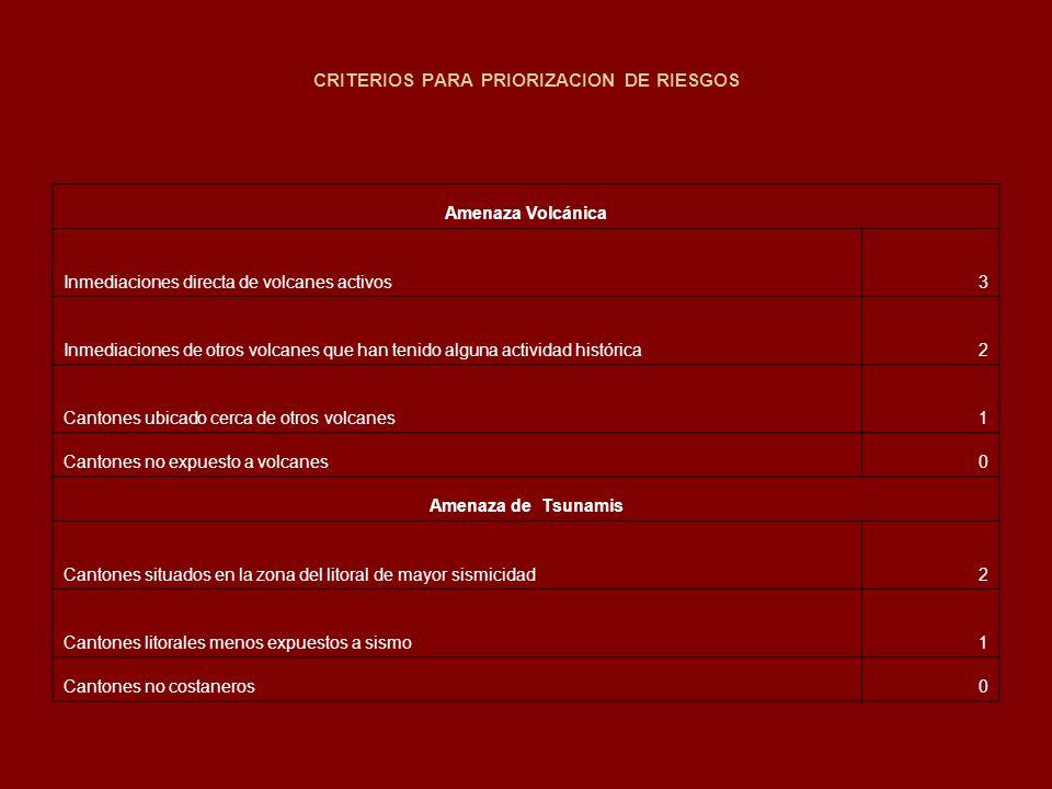 CRITERIOS PARA PRIORIZACION DE RIESGOS