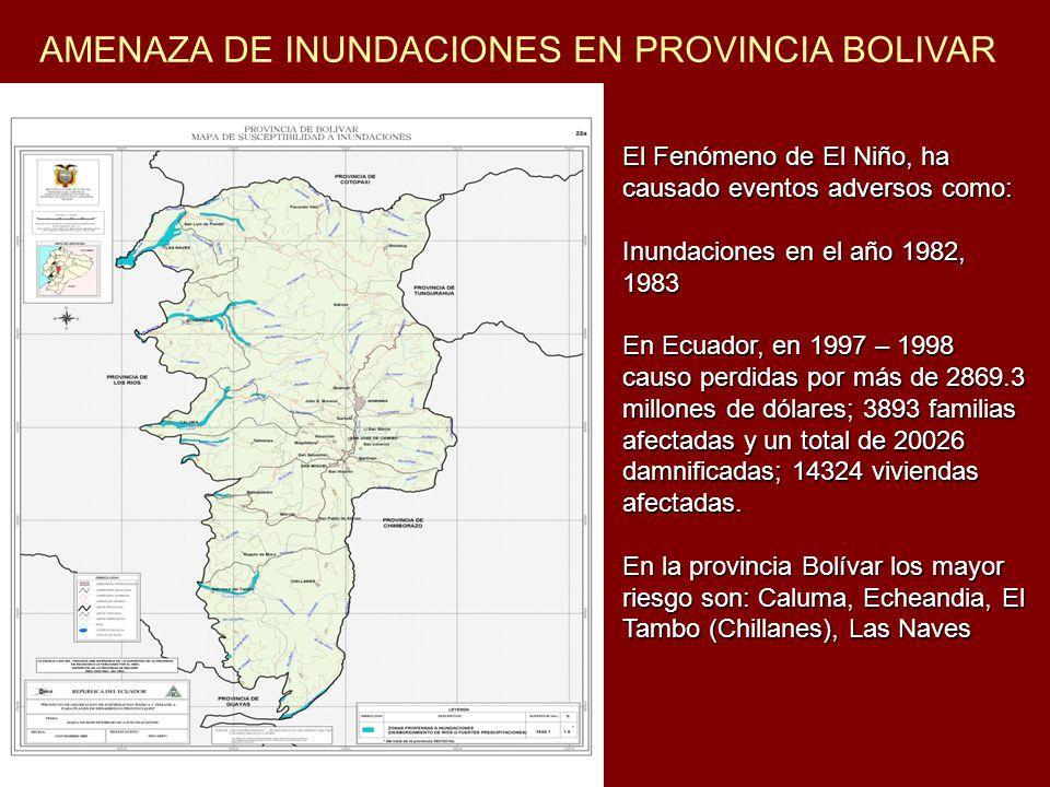 AMENAZA DE INUNDACIONES EN PROVINCIA BOLIVAR