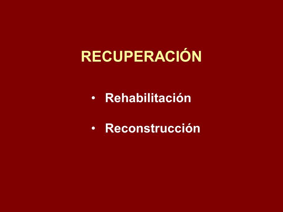 RECUPERACIÓN Rehabilitación Reconstrucción