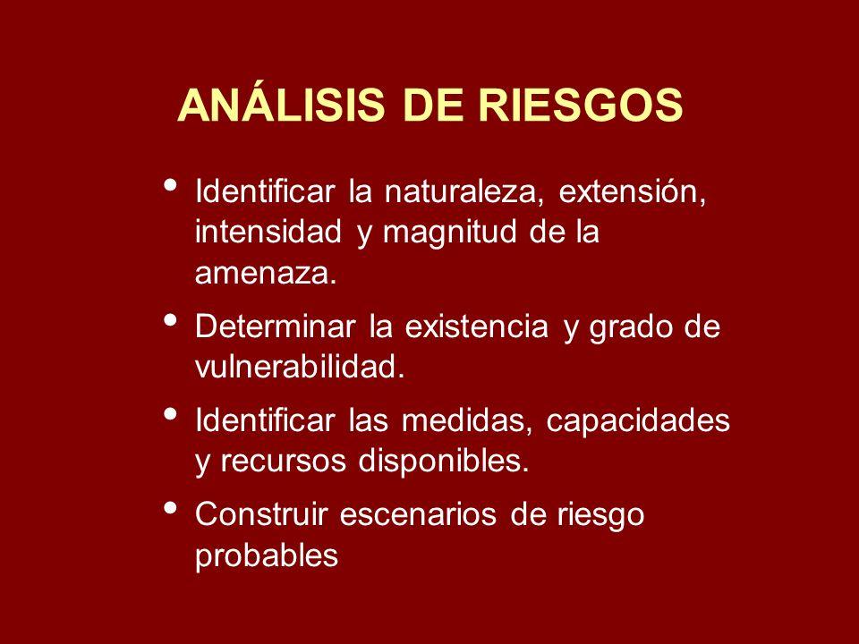 ANÁLISIS DE RIESGOS Identificar la naturaleza, extensión, intensidad y magnitud de la amenaza.