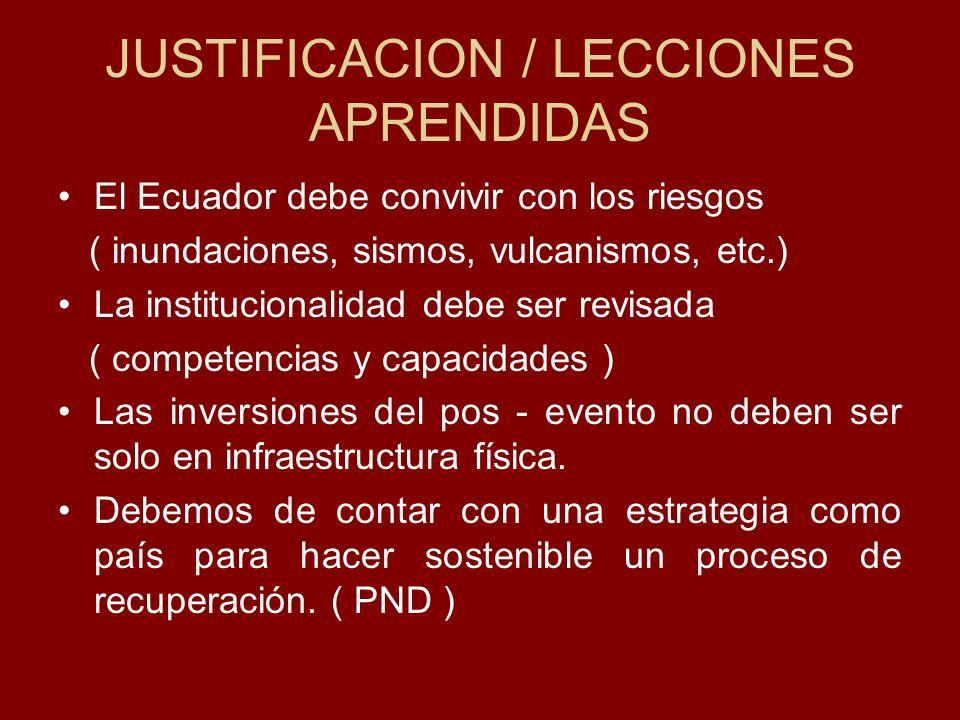 JUSTIFICACION / LECCIONES APRENDIDAS