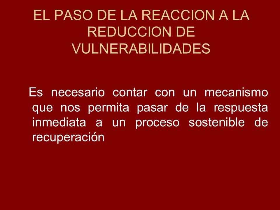 EL PASO DE LA REACCION A LA REDUCCION DE VULNERABILIDADES