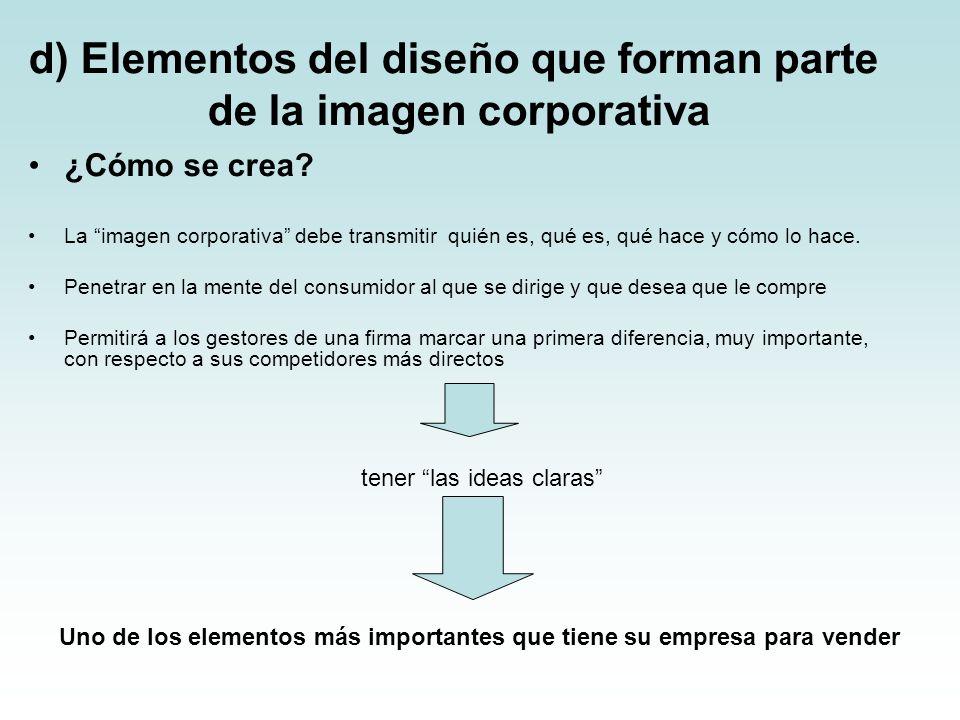d) Elementos del diseño que forman parte de la imagen corporativa