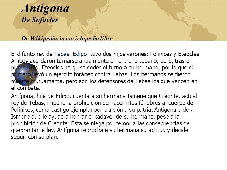 Antígona De Sófocles De Wikipedia, la enciclopedia libre