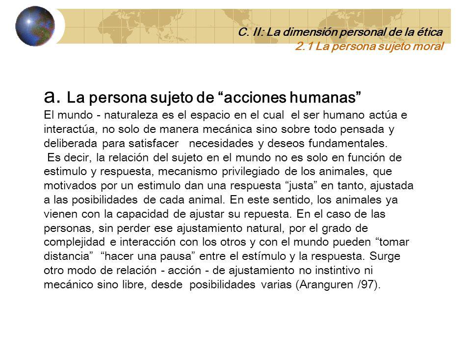 a. La persona sujeto de acciones humanas