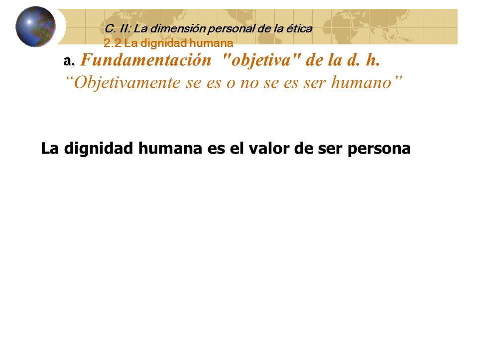 La dignidad humana es el valor de ser persona