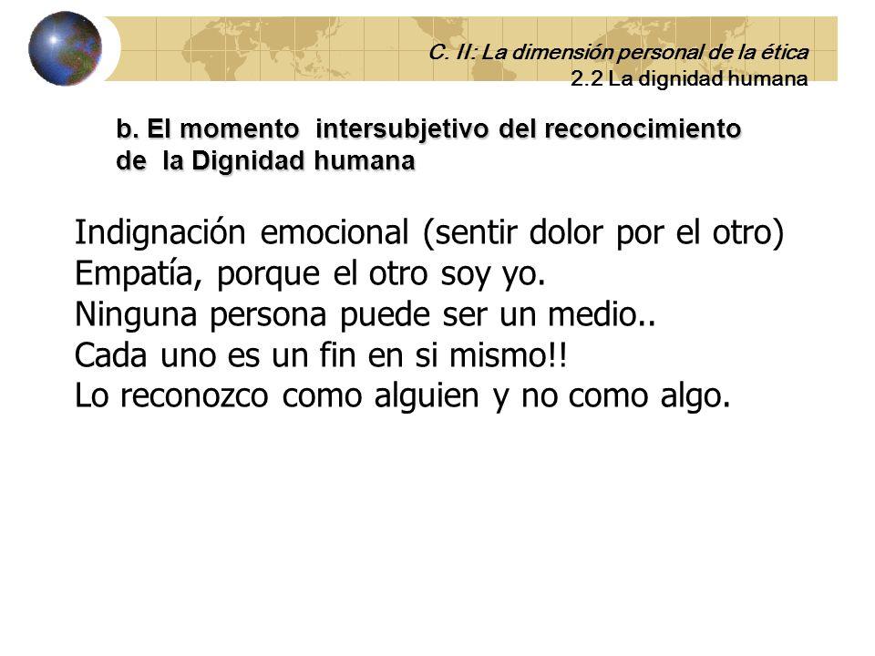 b. El momento intersubjetivo del reconocimiento de la Dignidad humana