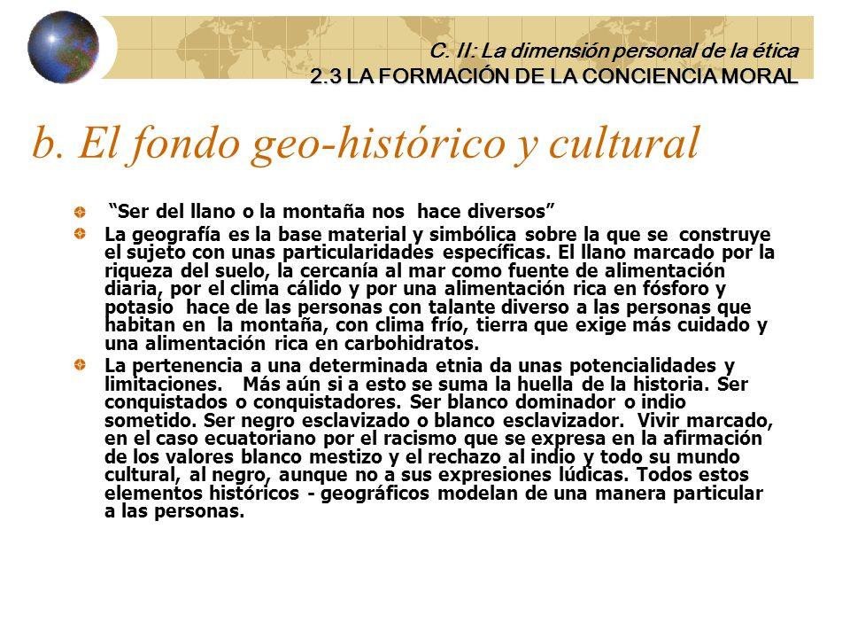 b. El fondo geo-histórico y cultural