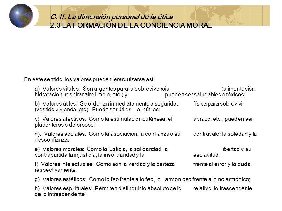 C. II: La dimensión personal de la ética