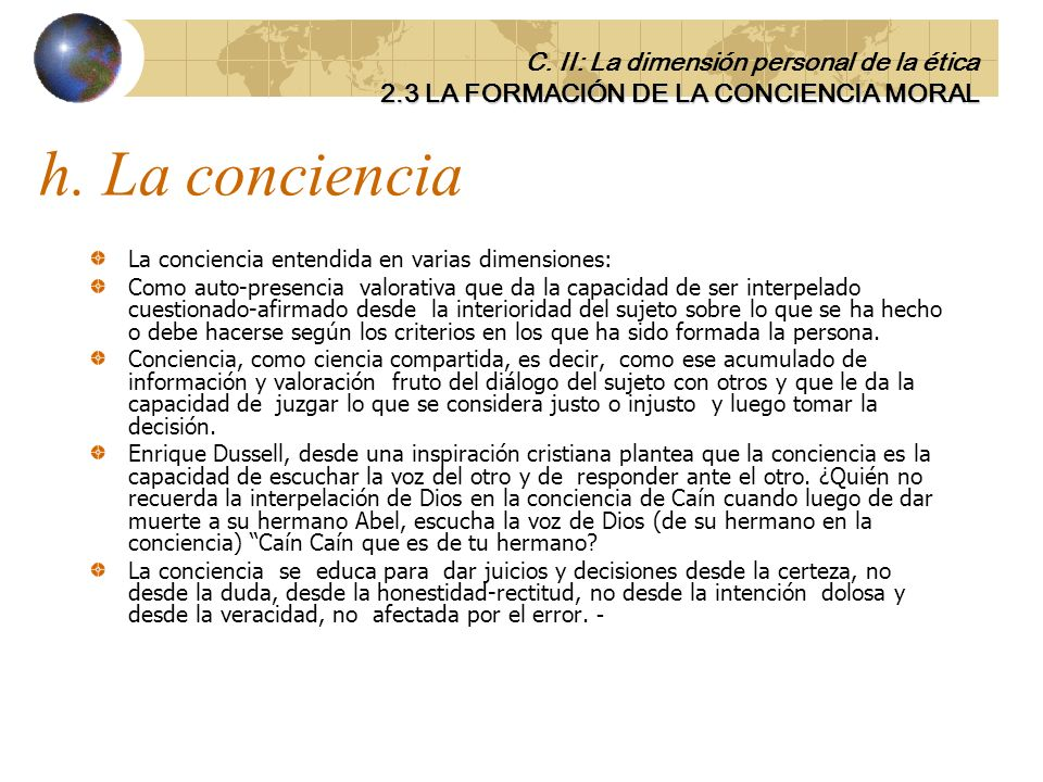 h. La conciencia C. II: La dimensión personal de la ética