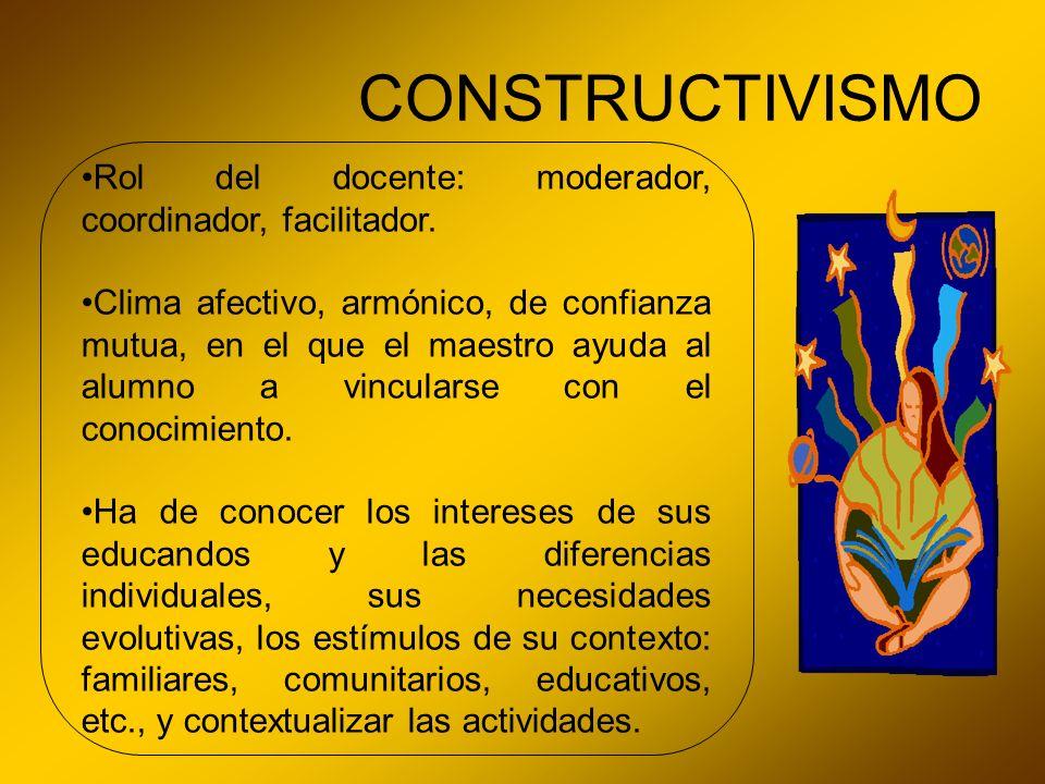 CONSTRUCTIVISMO Rol del docente: moderador, coordinador, facilitador.