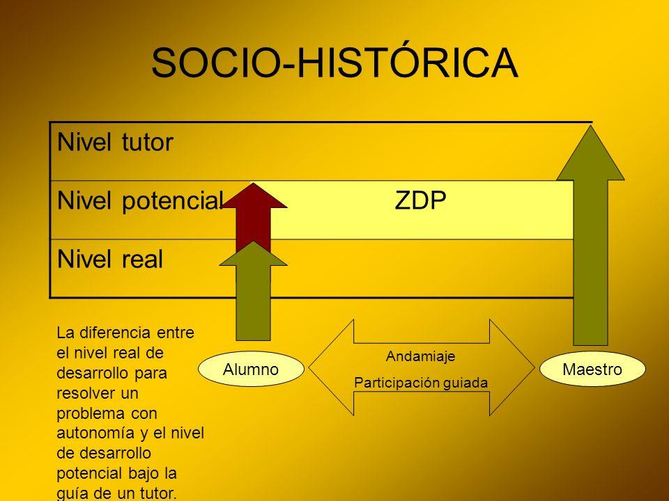 SOCIO-HISTÓRICA Nivel tutor Nivel potencial ZDP Nivel real