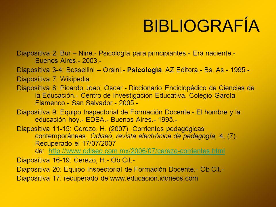 BIBLIOGRAFÍA Diapositiva 2: Bur – Nine.- Psicología para principiantes.- Era naciente.- Buenos Aires.- 2003.-