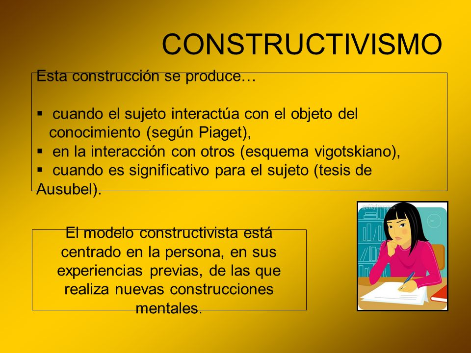 CONSTRUCTIVISMO Esta construcción se produce…
