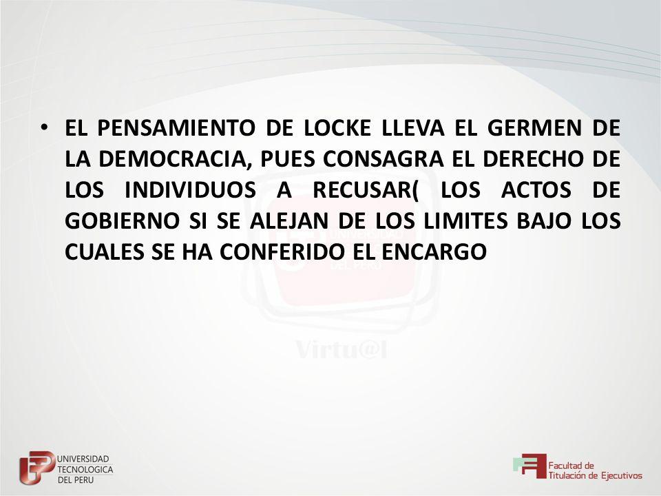EL PENSAMIENTO DE LOCKE LLEVA EL GERMEN DE LA DEMOCRACIA, PUES CONSAGRA EL DERECHO DE LOS INDIVIDUOS A RECUSAR( LOS ACTOS DE GOBIERNO SI SE ALEJAN DE LOS LIMITES BAJO LOS CUALES SE HA CONFERIDO EL ENCARGO