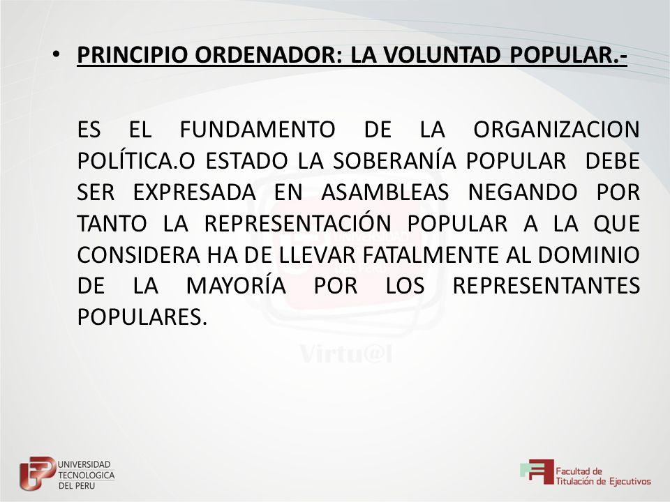 PRINCIPIO ORDENADOR: LA VOLUNTAD POPULAR.-