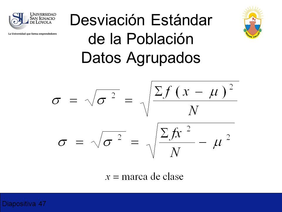 Desviación Estándar de la Población Datos Agrupados