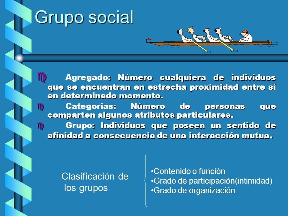 Grupo socialAgregado: Número cualquiera de individuos que se encuentran en estrecha proximidad entre sí en determinado momento.