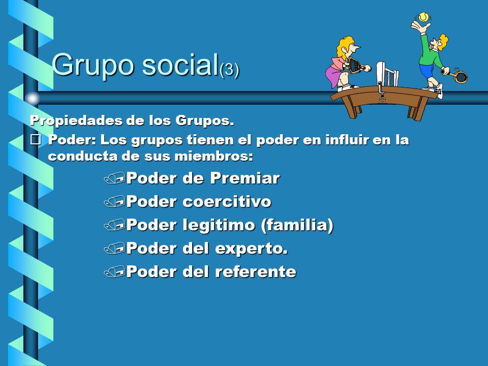 Grupo social(3) Poder de Premiar Poder coercitivo
