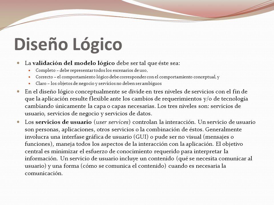 Diseño Lógico La validación del modelo lógico debe ser tal que éste sea: Completo – debe representar todos los escenarios de uso,
