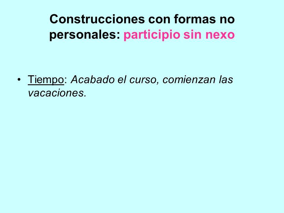 Construcciones con formas no personales: participio sin nexo