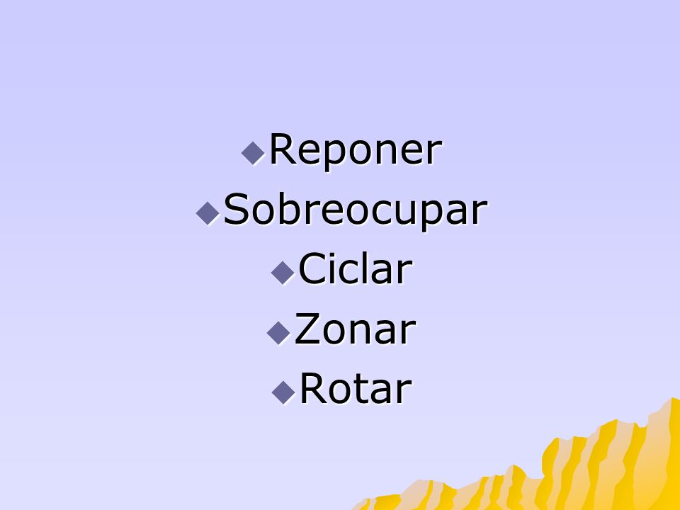 Reponer Sobreocupar Ciclar Zonar Rotar
