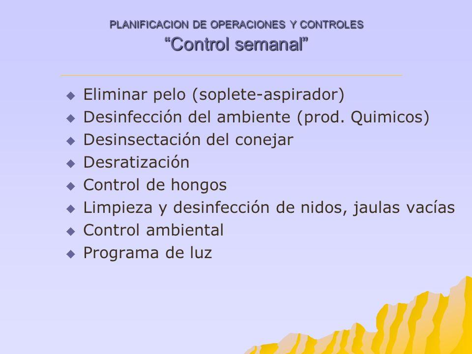 PLANIFICACION DE OPERACIONES Y CONTROLES Control semanal