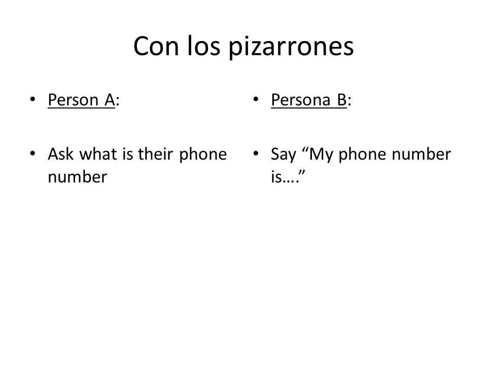 Con los pizarrones Person A: Ask what is their phone number Persona B: