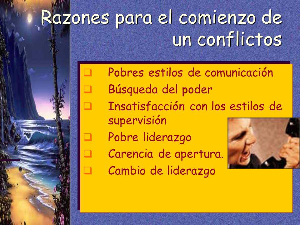 Razones para el comienzo de un conflictos