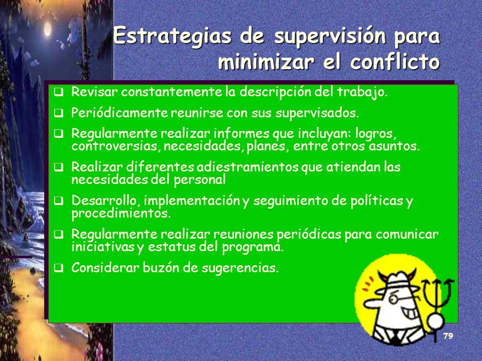 Estrategias de supervisión para minimizar el conflicto