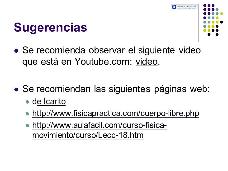 Sugerencias Se recomienda observar el siguiente video que está en Youtube.com: video. Se recomiendan las siguientes páginas web: