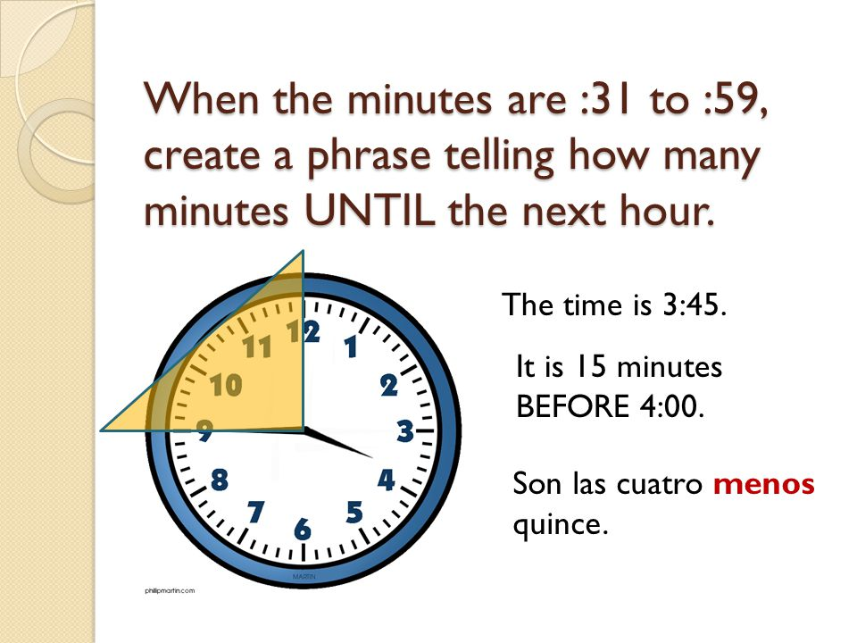 When the minutes are :31 to :59, create a phrase telling how many minutes UNTIL the next hour.