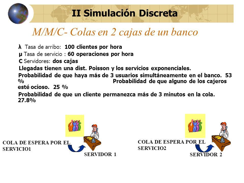 M/M/C- Colas en 2 cajas de un banco