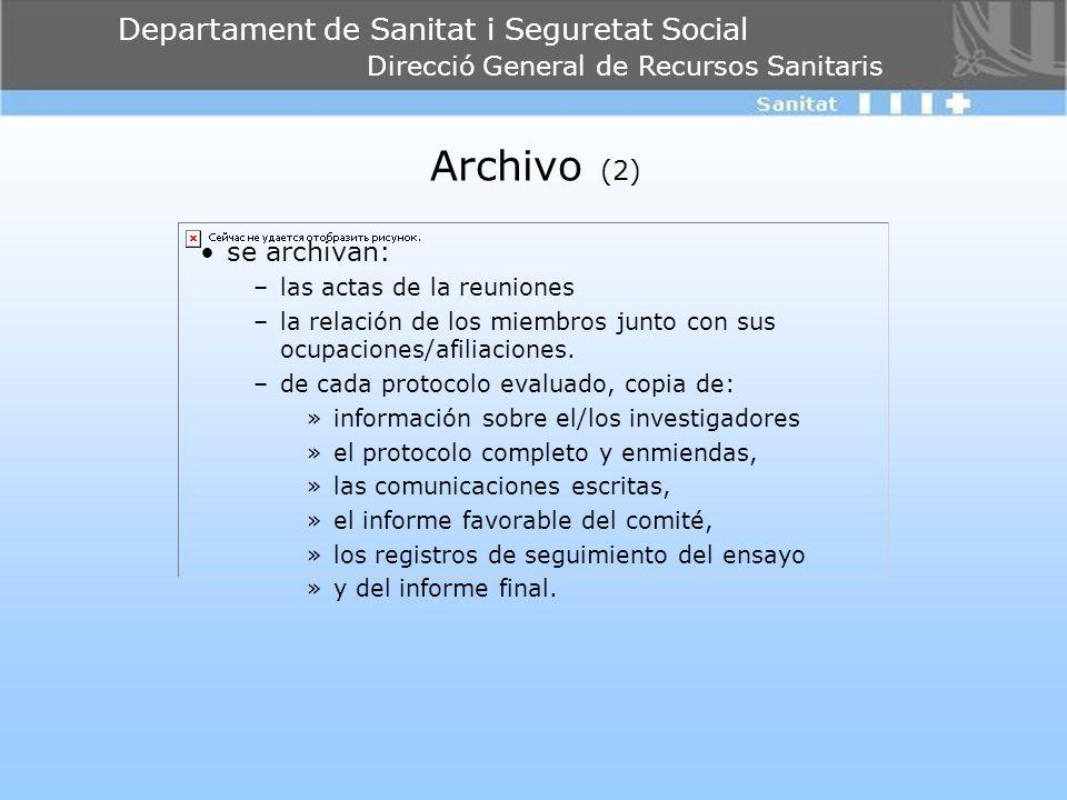 Archivo (2) se archivan: las actas de la reuniones