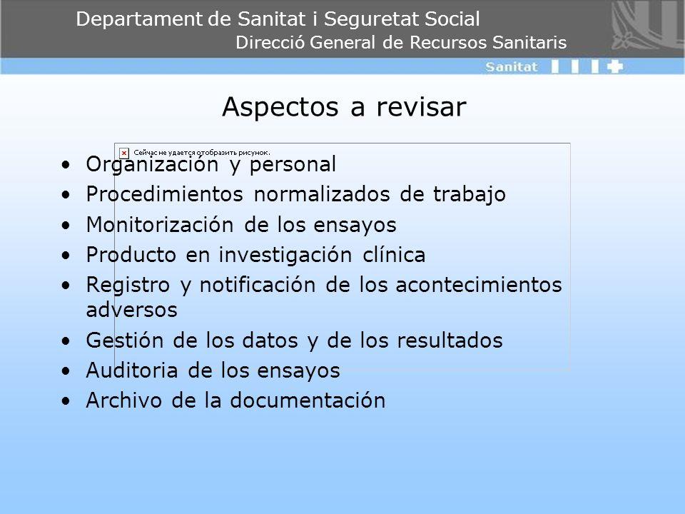 Aspectos a revisar Organización y personal