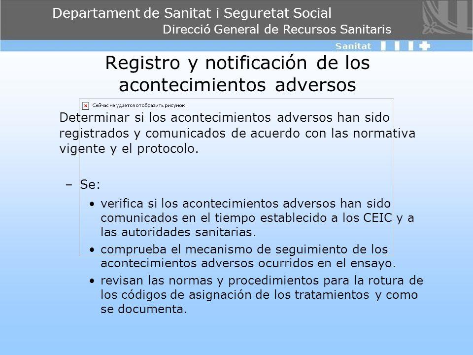 Registro y notificación de los acontecimientos adversos
