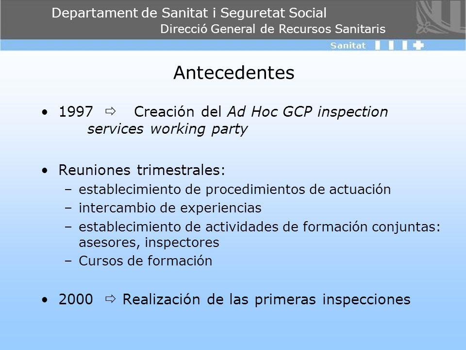 Antecedentes 1997  Creación del Ad Hoc GCP inspection services working party. Reuniones trimestrales: