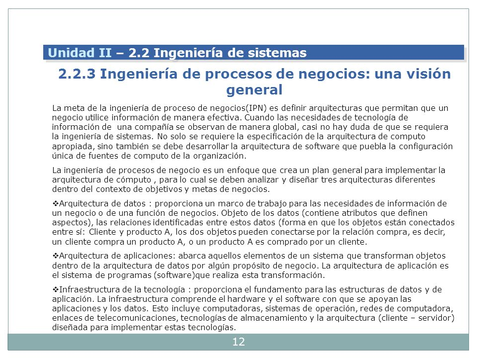 2.2.3 Ingeniería de procesos de negocios: una visión general