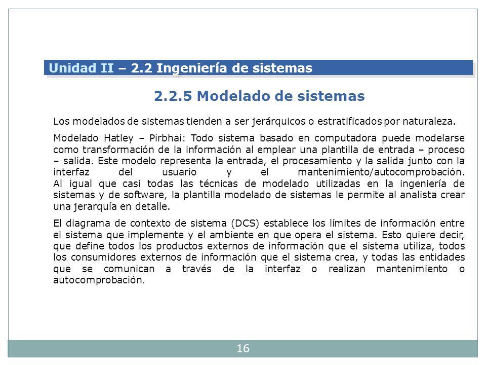 2.2.5 Modelado de sistemas Unidad II – 2.2 Ingeniería de sistemas