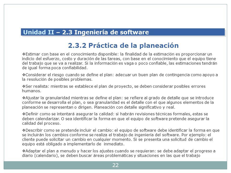 2.3.2 Práctica de la planeación