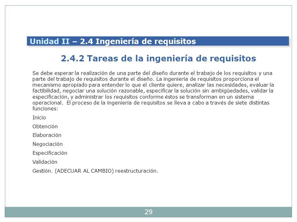 2.4.2 Tareas de la ingeniería de requisitos