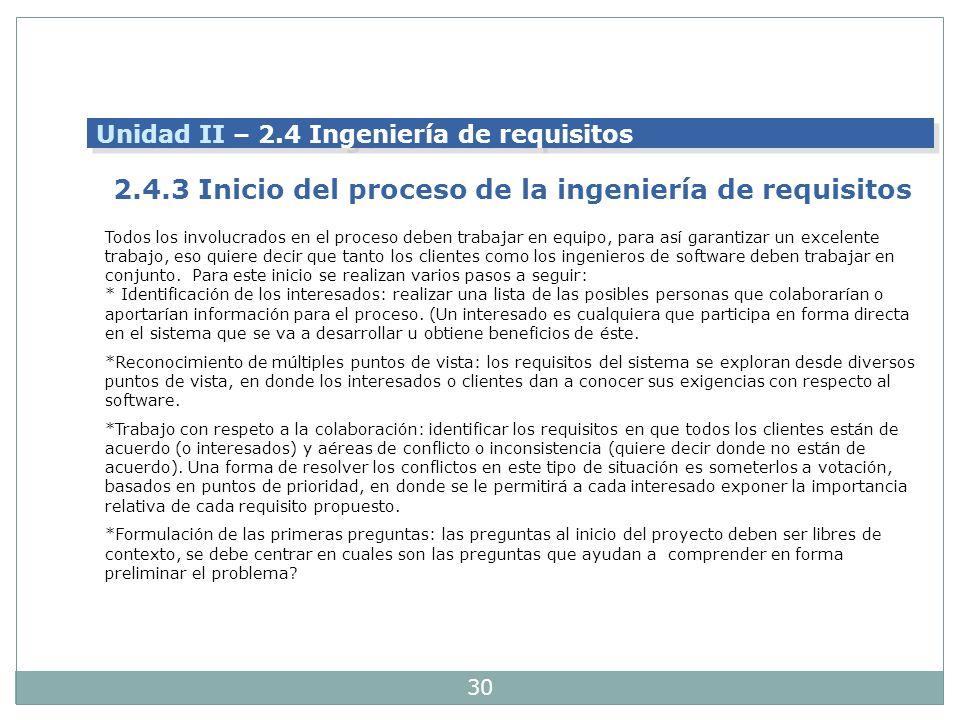 2.4.3 Inicio del proceso de la ingeniería de requisitos