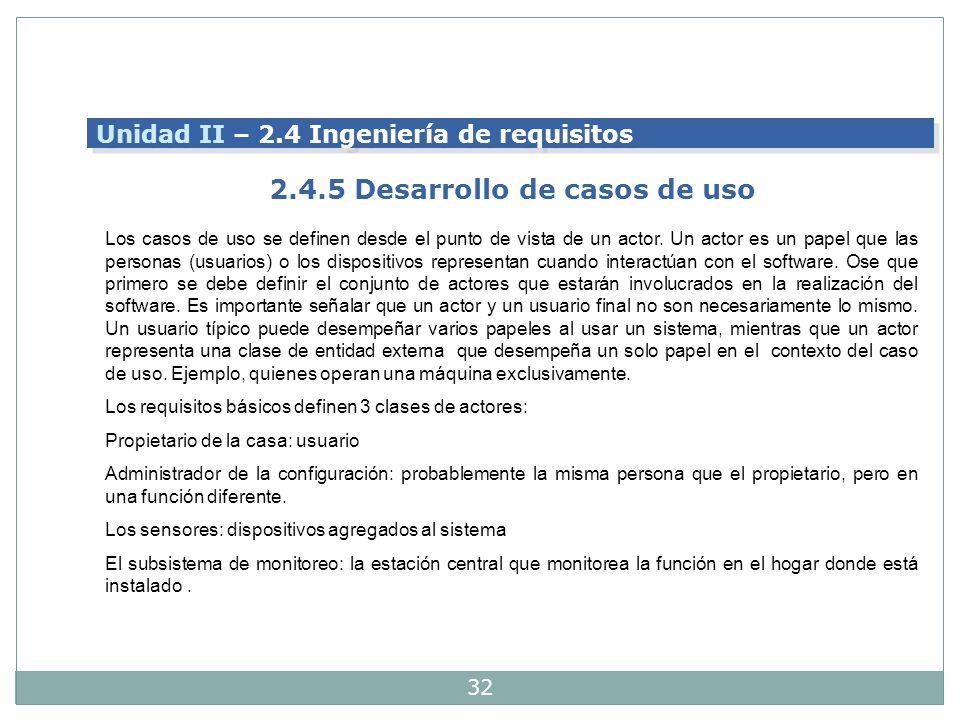 2.4.5 Desarrollo de casos de uso