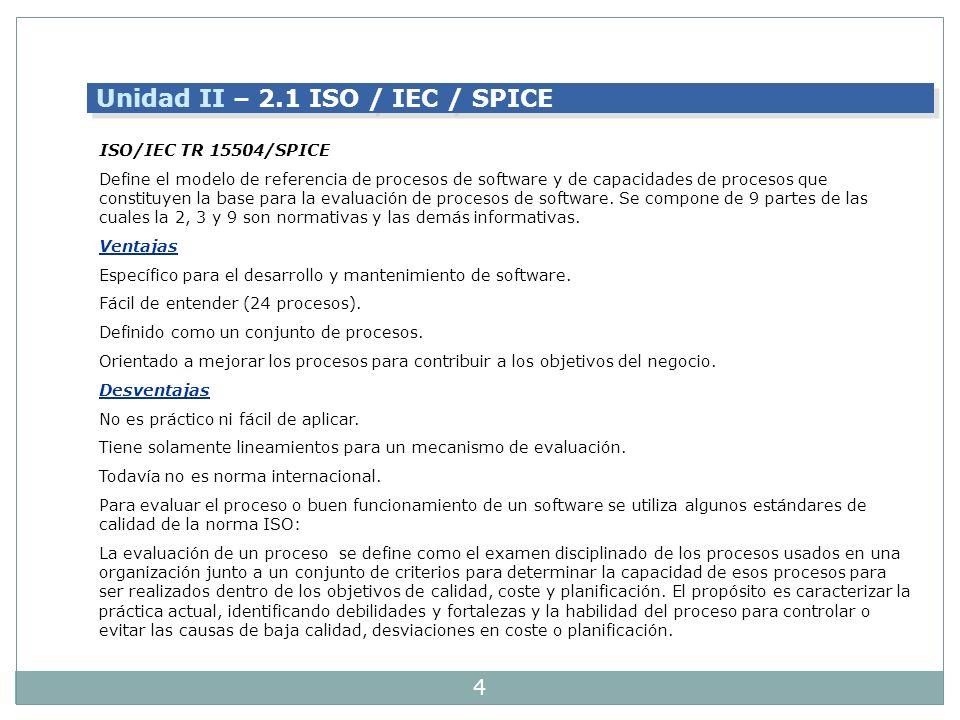Unidad II – 2.1 ISO / IEC / SPICE