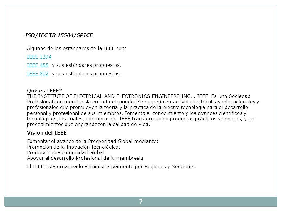 ISO/IEC TR 15504/SPICE Algunos de los estándares de la IEEE son: IEEE 1394. IEEE 488 y sus estándares propuestos.